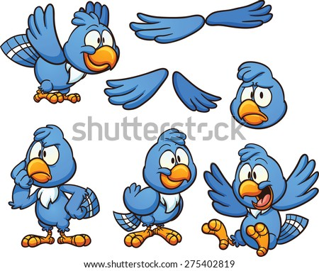 Cartoon blue bird in different poses. Vector clip art illustration with simple gradients. Some of the bird's heads and bodies are on separate layers.  - stock vector
