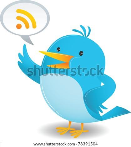 Cartoon Blue Bird talking - stock vector