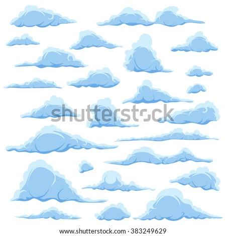 Cartoon blue clouds on a white sky background. Set of isolated funny cartoon clouds, smoke and fog patterns icons, for filling your sky scenes or the game interface backgrounds. Vector illustration - stock vector