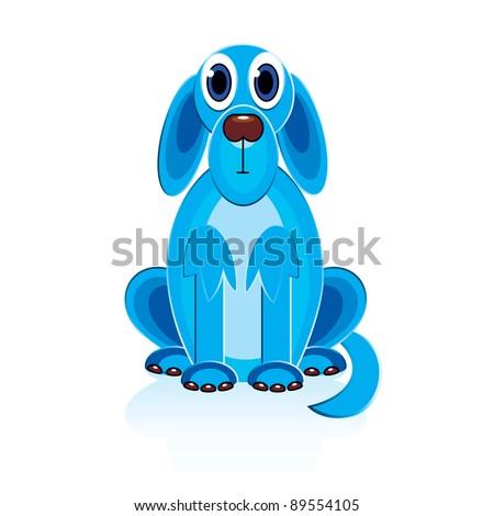 Cartoon Blue Dog. Illustration on white background for design - stock vector