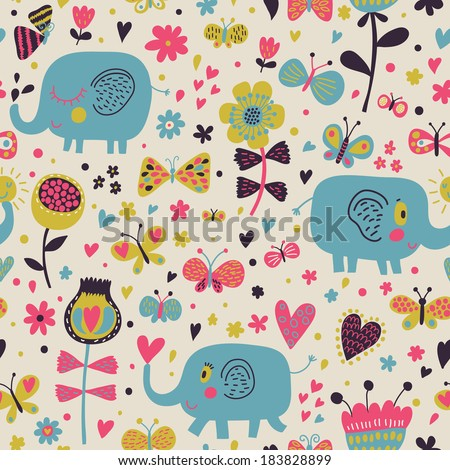 Cartoon blue elephants in flowers with butterflies. Seamless pattern can be used for wallpapers, pattern fills, web page backgrounds, surface textures. Gorgeous childish seamless background - stock vector