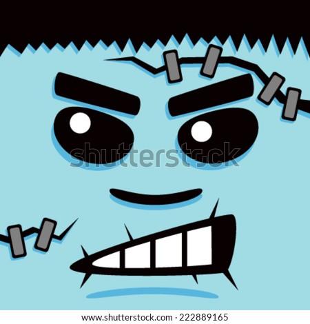 Cartoon Blue Frank Face - stock vector