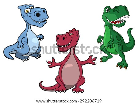 Cartoon blue, green and purple t-rex dinosaurs with kind smiling faces isolated on white background for childish design - stock vector