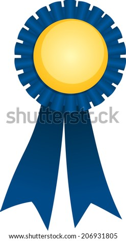 Cartoon Blue Ribbon on white background - stock vector