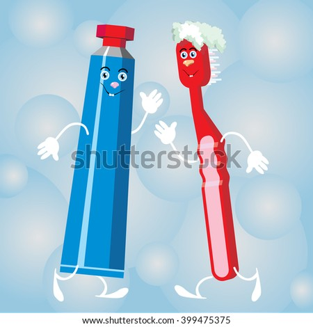 Cartoon blue toothpaste and red toothbrush on a bubble background vector - stock vector
