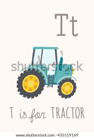 cartoon blue tractor abc kids wall art alphabet card nursery alphabet poster wall
