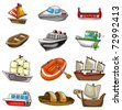 cartoon boat icon - stock vector