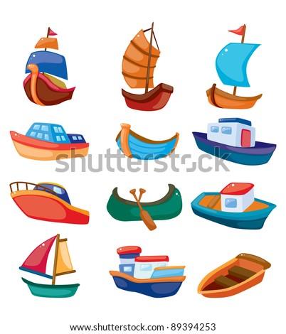 cartoon boat icon - stock vector