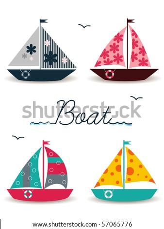 cartoon boats - stock vector