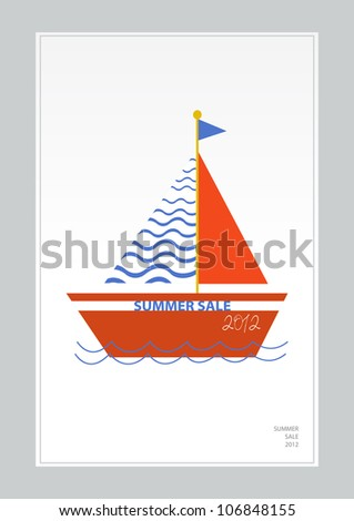 cartoon boats, summer sale 2012 - stock vector