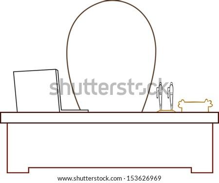Cartoon boss man desk. - stock vector