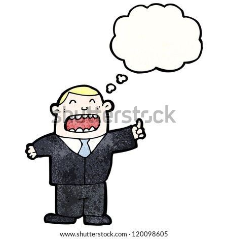 cartoon boss with idea - stock vector