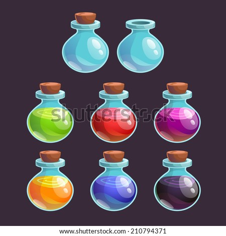 Cartoon bottles with poison in different colors, vector elements - stock vector