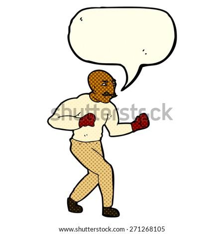 cartoon boxer with speech bubble - stock vector