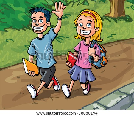Cartoon boy and girl going to school. Path and woods behind - stock vector