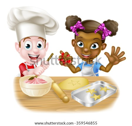 Cartoon boy and girl kids, one black one white, dressed as chefs or bakers baking cakes and cookies - stock vector