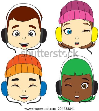 cartoon boy and girl listening music vector - stock vector