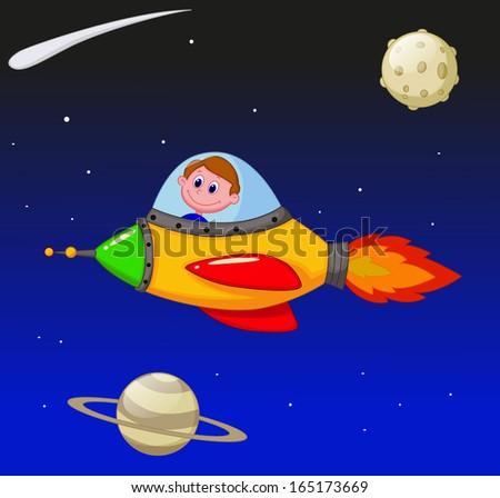 Cartoon boy astronaut in the spaceship - stock vector