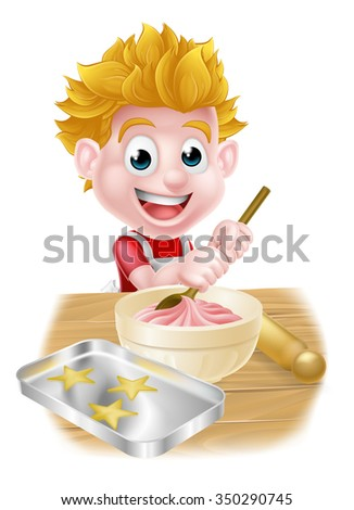 Cartoon boy baking and cooking as a chef in the kitchen - stock vector