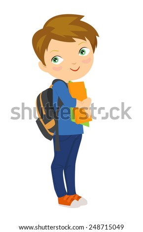 Cartoon boy bring pile of books - stock vector