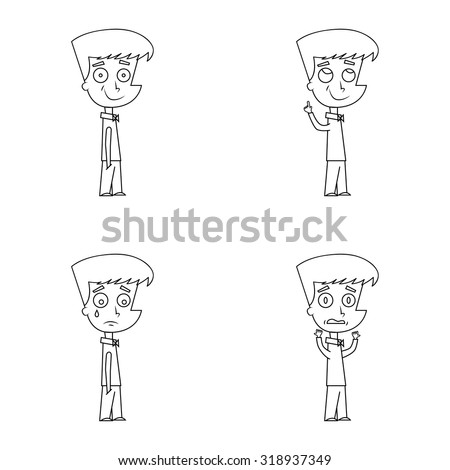 Cartoon boy character with different facial expression of happiness, sadness, idea and fear. Outline, line art, black and white version for coloring. - stock vector