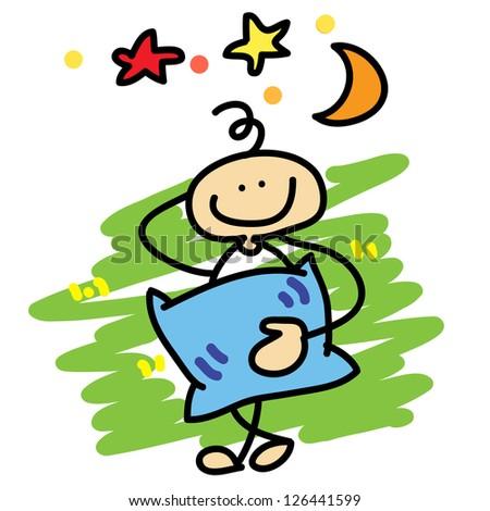 cartoon boy daydreaming hand-drawn concept - stock vector