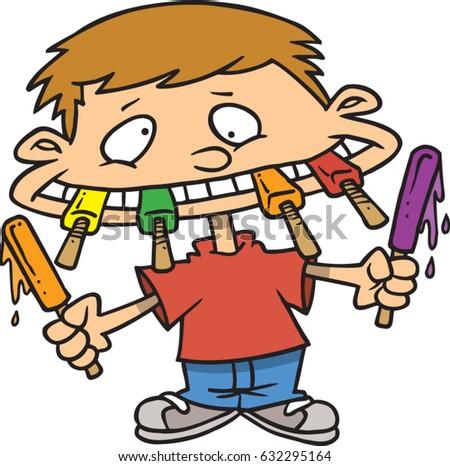 Cartoon Boy Eating Popsicles Stock Vector 632295164 ...