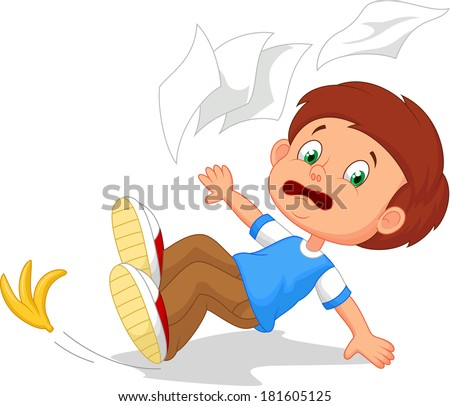 Cartoon boy fall down - stock vector