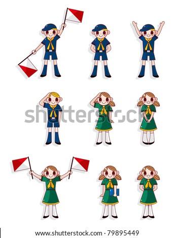 cartoon boy/girl scout icon set - stock vector