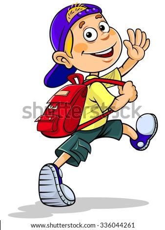 Cartoon boy going to school - stock vector