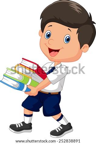 Cartoon boy holding a pile of books - stock vector