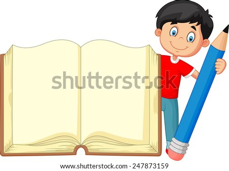 Cartoon boy holding giant book and pencil - stock vector