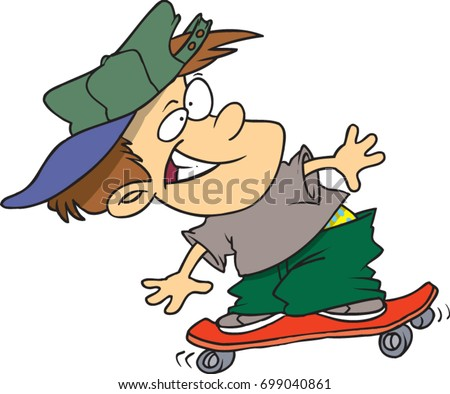 cartoon boy riding a skateboard
