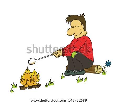 Cartoon boy roasting marshmallow to campfire (vector)  - stock vector