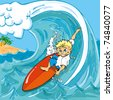 Cartoon boy surfing a wave in the sea - stock photo