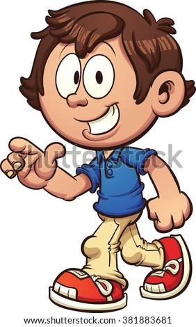Cartoon boy walking and pointing. Vector clip art illustration with simple gradients. Some elements on separate layers. Both legs are fixed together and on the same layer.  - stock vector