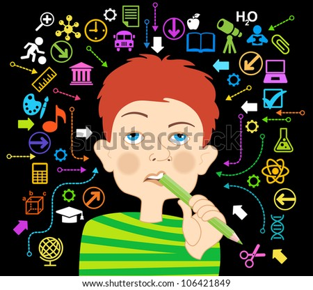 Cartoon boy with a pencil in his mouth surrounded by icons of education. - stock vector