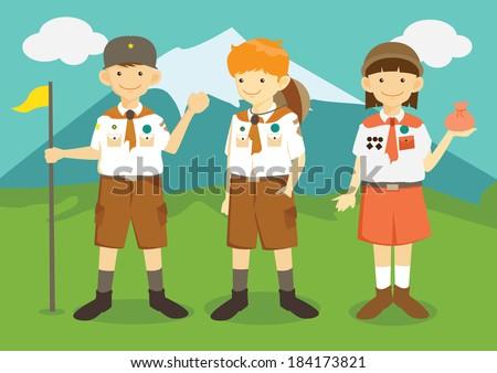 Cartoon Boys and Girl Scouts - stock vector