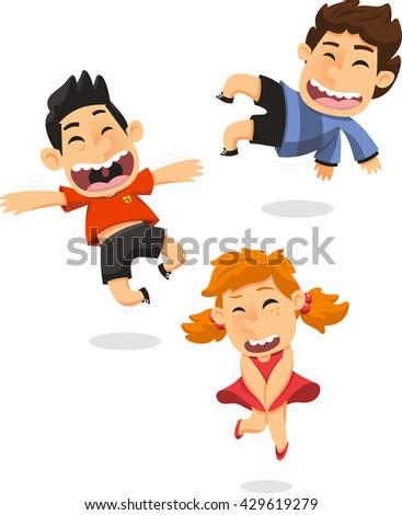 cartoon Boys jumping set - stock vector