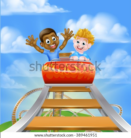 Cartoon boys on a roller coaster ride at a theme park or amusement park