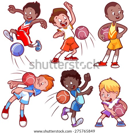 Cartoon boys playing dodgeball. Vector clip art illustration on a white background. - stock vector