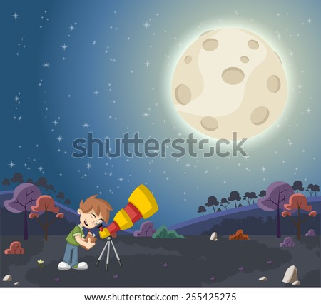 Cartoon boys using a telescope to look at the moon - stock vector