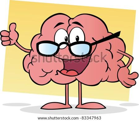 Cartoon Brain Giving The Thumbs Up - stock vector