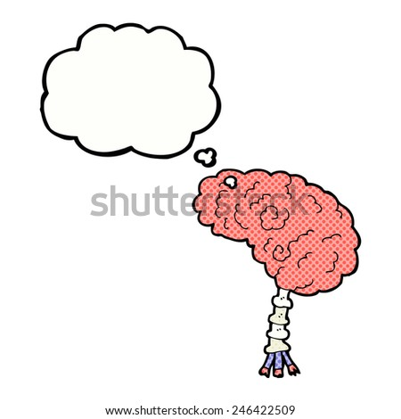 cartoon brain with thought bubble - stock vector