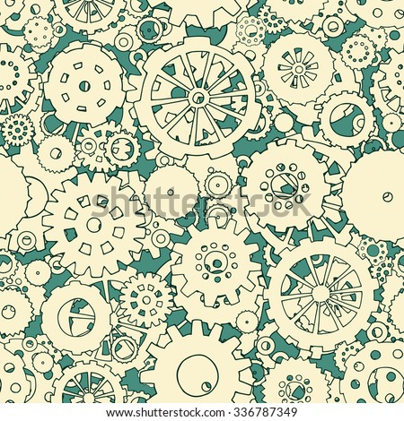 Cartoon bright seamless pattern with doodle gears. Can be used for wallpaper, web page background, surface textures. Hand-drawn mechanical vector illustration with collection of hand drawn cogs. - stock vector