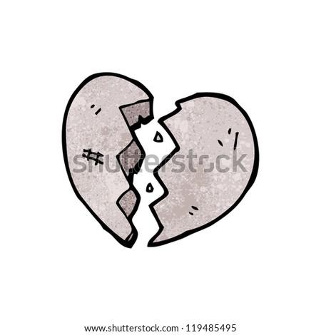 cartoon broken heart of stone - stock vector
