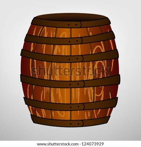 Cartoon brown barrel - stock vector