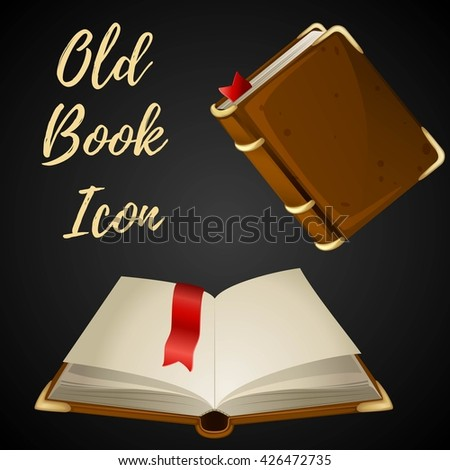 Cartoon brown book open and closed with red ribbon, vector illustration. - stock vector