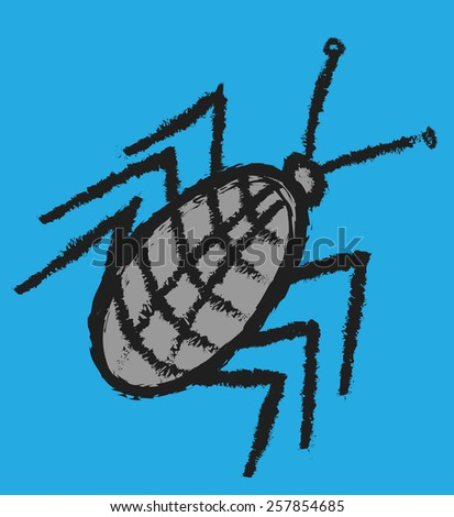 cartoon bug, cockroach vector  - stock vector