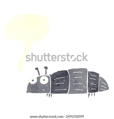 cartoon bug with speech bubble - stock vector